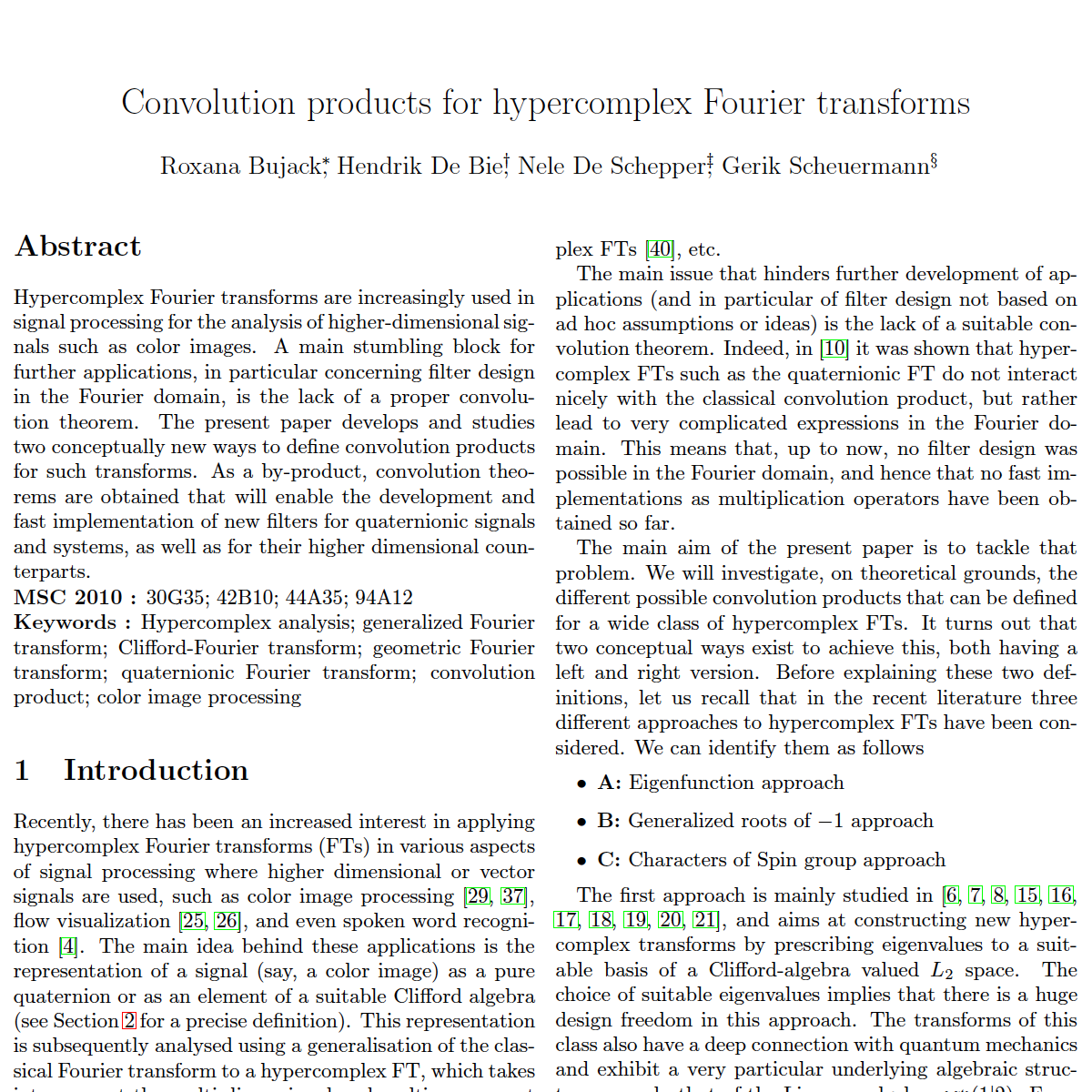 Convolution Products for Hypercomplex Fourier Transforms